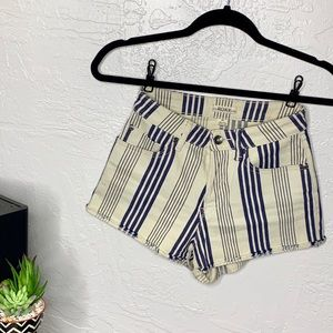 Roxy Navy and White Striped High Rise Shorts